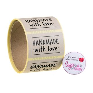 Labels NATURAL Oblong HANDMADE WITH LOVE Sticker Roll of 100