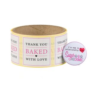 Labels WHITE Square BAKED WITH LOVE Sticker Roll of 100