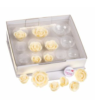 SugarSoft 12 Assorted IVORY ROSES