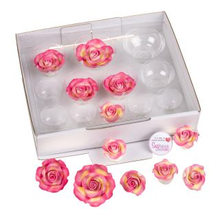SugarSoft 12 Assorted MARBLED PINK AND GOLD ROSES
