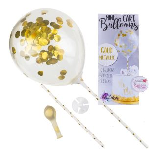 Sweet Stamp Mini Confetti Balloons 2pk GOLD METALLIC