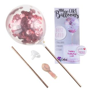 Sweet Stamp Mini Confetti Balloons 2pk ROSE GOLD METALLIC
