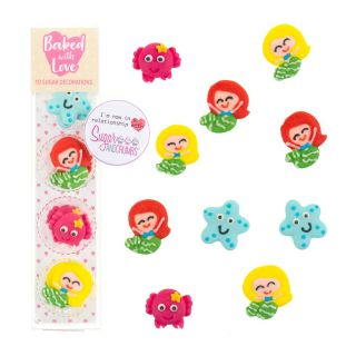 Baked with Love Sugar Pipings MERMAID Pack of 10