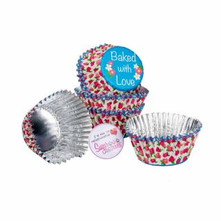 Baked with Love Cupcake Foil Cases ROSE BUD Pack of 25