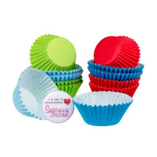 Cupcake Cases Mini BLUE GREEN AND RED Pack of 100