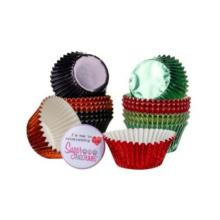 Cupcake Cases Mini Foils BLACK GREEN AND RED Pack of 100