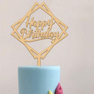 Katy Sue Cake Topper Wooden Geometric Happy Birthday