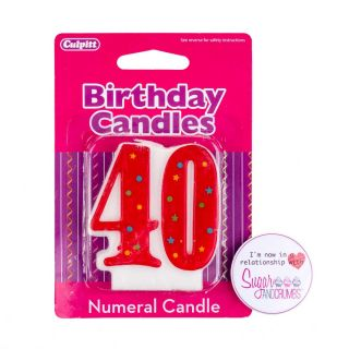 Culpitt Multi Red Birthday Candle NUMBER 40