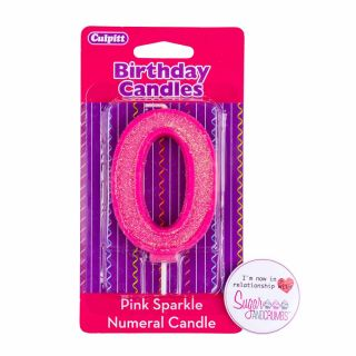 Culpitt Pink Sparkle Candle NUMBER 0