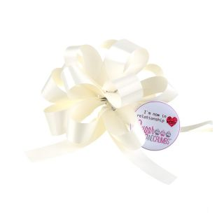 Cupcake Bouquet Ribbon Pull Bow IVORY Pack of 1