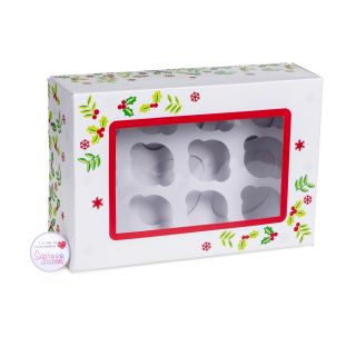 Cupcake Window Box CHRISTMAS HOLLY Fits 6 or 12