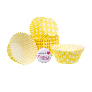Cake Star Cupcake Cases YELLOW SPOT Pack of 54