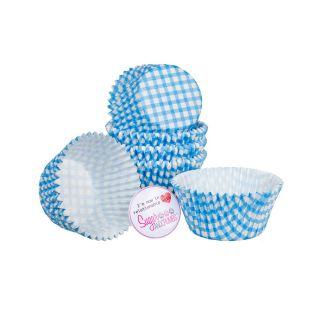 Cake Star Cupcake Cases BLUE GINGHAM Pack of 54