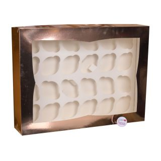 Cupcake Window Box ROSE GOLD Fits 24