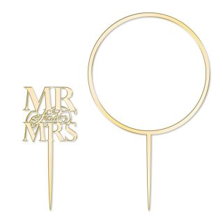 Katy Sue Cake Topper Elegant Mirror Gold Mr and Mrs and Flower Hoop Set