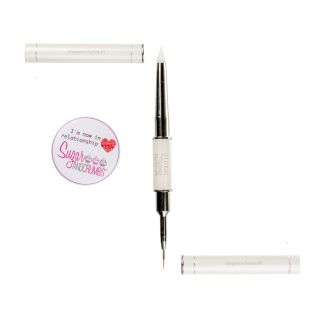Global Sugar Artists Network Elegance Series WHITE MICRO LINER DETAIL BRUSH SHAPER SIZE 0 and 1