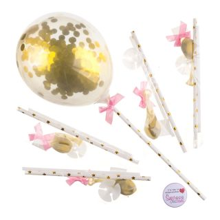 Mini Confetti Balloons GOLD Pack of 5