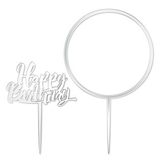 Katy Sue Cake Topper Elegant Mirror Silver Happy Birthday and Flower Hoop Set