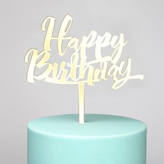 Katy Sue Cake Topper Mirror Gold Happy Birthday