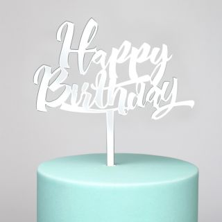 Katy Sue Cake Topper Mirror Silver Happy Birthday