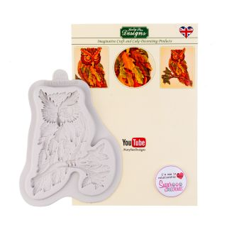 Katy Sue Silicone Mould AUTUMN LEAF OWL