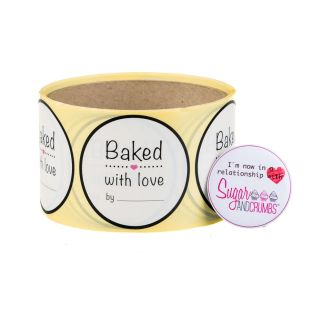 Labels WHITE Round BAKED WITH LOVE Sticker Roll of 100