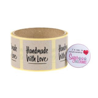 Labels NATURAL Square HANDMADE WITH LOVE Sticker Roll of 100