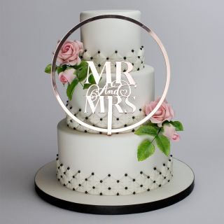 Katy Sue Cake Topper Elegant Mirror Rose Gold Mr and Mrs and Flower Hoop Set