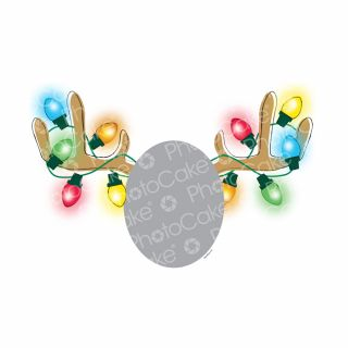 PhotoCake A4 Personalised Christmas Lights on Antlers