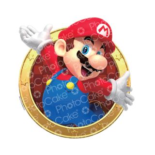 PhotoCake Round SUPER MARIO - MARIO HERE WE GO