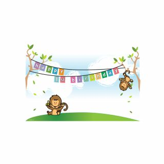 PhotoCake A4 1st Birthday Monkeys