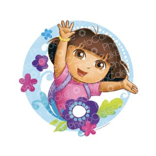 PhotoCake Round DORA THE EXPLORER FLOWERS