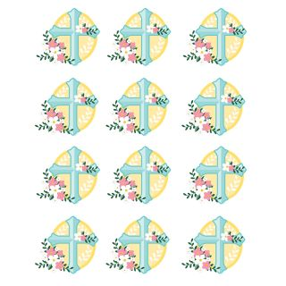PhotoCake Round CROSS WITH FLOWERS