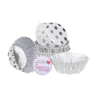 PME Cupcake Cases Foil Lined SILVER POLKA DOT Pack of 30