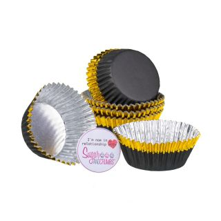 PME Cupcake Cases Foil Lined BLACK With GOLD Trim Pack of 30 PME