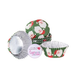 PME Cupcake Cases Foil Lined CHRISTMAS SANTA Pack of 30