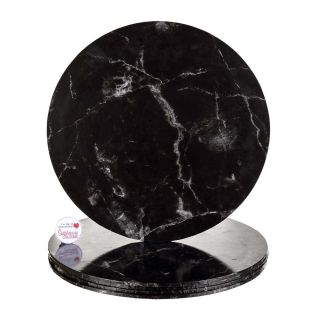 Cake Drum ROUND BLACK MARBLE Masonite 12 Inch