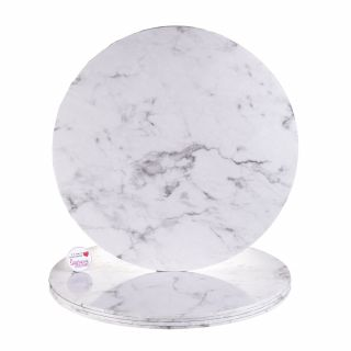 Cake Drum ROUND WHITE MARBLE Masonite 14 Inch
