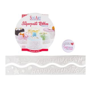 SugArt Sugarpaste Ribbon Happy Birthday No 18