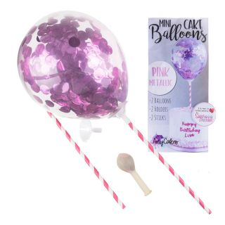 Sweet Stamp Mini Confetti Balloons 2pk PINK METALLIC