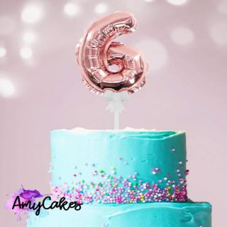 Sweet Stamp Foil Balloon Rose Gold Number 6