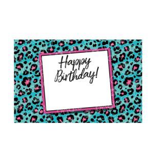 PhotoCake A4 Personalised Blue Leopard Happy Birthday