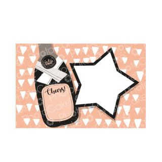 PhotoCake A4 Personalised Cheers Champagne Bottle Star