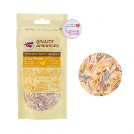 Quality Sprinkles Pearlised Sugar Strands RAINBOW 65g