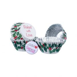 Baked with Love Cupcake Foil Cases HOLLY AND BERRY Pack of 25