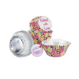Baked with Love Cupcake Foil Cases PATCHWORK MULTI Pack of 25