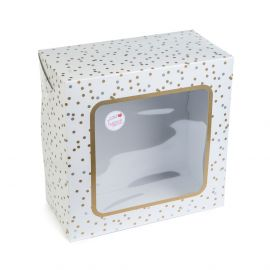 Cake Box Square With Window GOLD & SILVER Spot 10 Inch