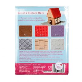 Cake Star Texture Mats Wood, Knit, Quilting, Tiles, Woven and Cobbles Pack of 6