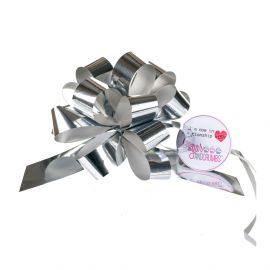 Cupcake Bouquet Ribbon Pull Bow SILVER