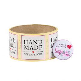 Labels WHITE Square HANDMADE WITH LOVE Sticker Roll of 100